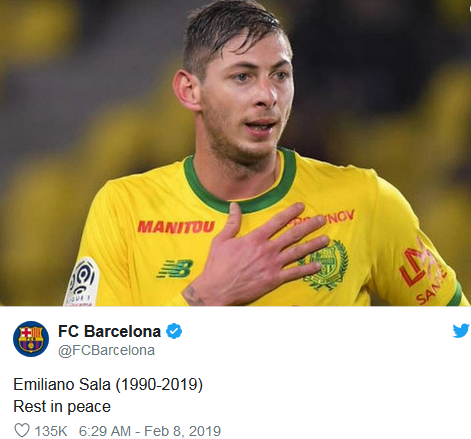 Emiliano sala on Barca Twitter